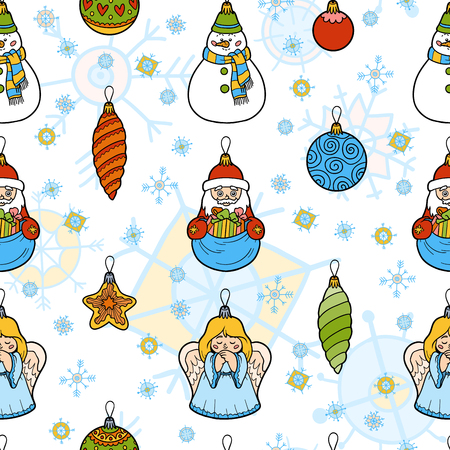 ball lump: Vector color seamless pattern, set of Christmas tree toys on white background