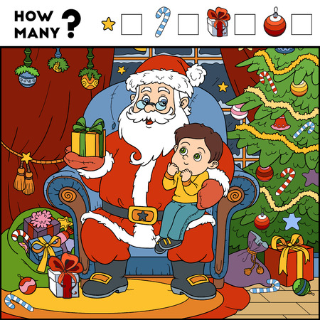 secret number: Counting Game for Preschool Children. Educational a mathematical game. Count the numbers in the picture and write the result. Santa Claus and background