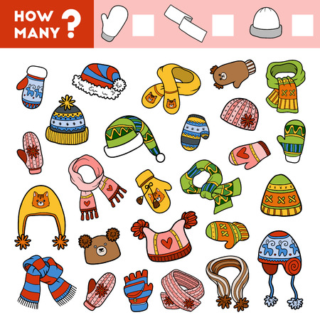Counting Game for Preschool Children. Educational a mathematical game. Count how many items and write the result! Scarves, mitten and hats