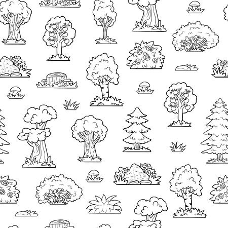 anthill: Vector seamless pattern, trees and bushes. Colorless forest Illustration