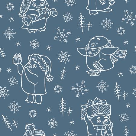 pinguinos navidenos: vector sin patrón con los pingüinos de la Navidad en fondo oscuro