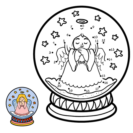 secret number: Numbers game, education dot to dot game for children, winter Snowball with angel Illustration