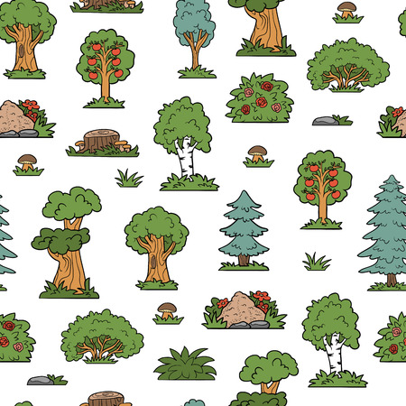 anthill: Vector seamless pattern, trees and bushes. Colorful forest Illustration