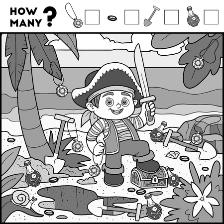 enumerate: Counting Game for Preschool Children. Educational a mathematical game. Count how many items and write the result! Pirate boy and background