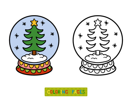 Libro Para Colorear Para Los Niños, La Bola De Nieve De Invierno Con ...