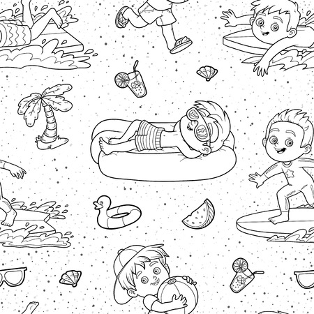 black boys: Vector black and white seamless pattern with summer holiday, set of boys on white background