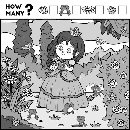 enumerate: Counting Game for Preschool Children. Educational a mathematical game. Count how many items and write the result! Princess and background