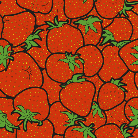 Vector seamless pattern, colorful strawberry set