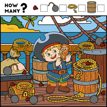 Counting Game for Preschool Children. Educational a mathematical game. Count how many items and write the result! Pirate boy and background