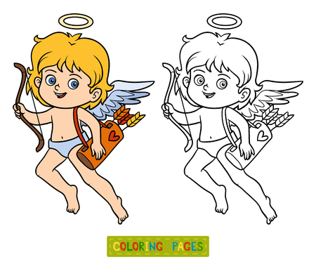 children of heaven: Coloring book for children, Valentines Day character, Angel Illustration