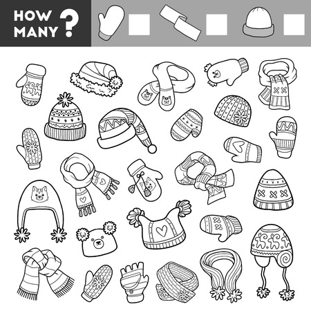 enigma: Counting Game for Preschool Children. Educational a mathematical game. Count how many items and write the result! Scarves, mitten and hats