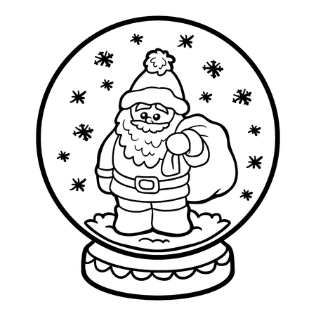 coloring book for children winter snowball with santa claus vector - Coloring Book Santa Claus