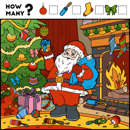 enumerate: Counting Game for Preschool Children. Educational a mathematical game. Count the numbers in the picture and write the result. Santa Claus and background