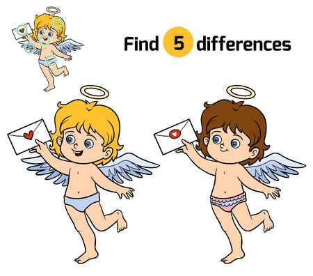 find: Find differences, education game for children, Angel