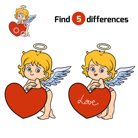 heart puzzle: Find differences, education game for children, Angel