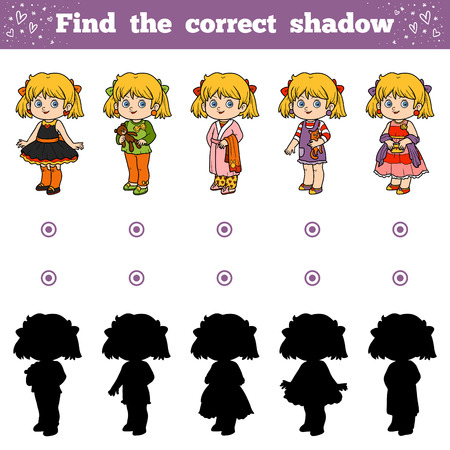 enigma: Find the correct shadow, education game for children, Girls Illustration