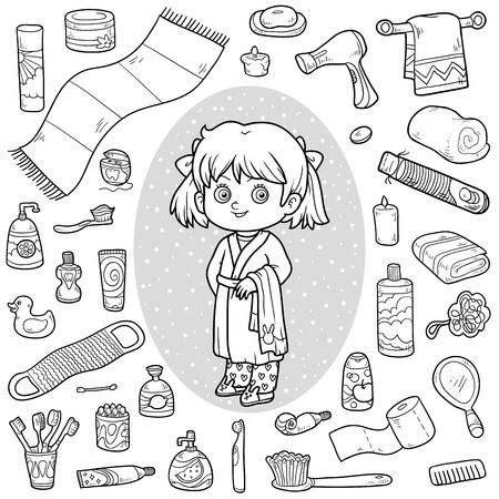 colorless: Vector colorless set of bathroom objects, little girl and bathrobe