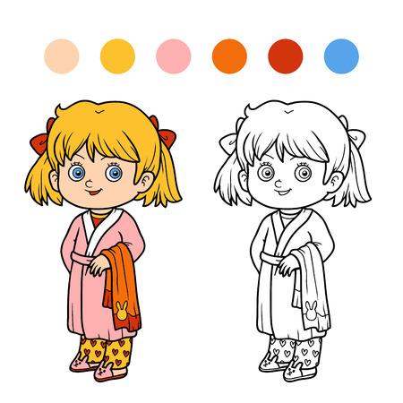 bathrobe: Coloring book for children, girl in a bathrobe