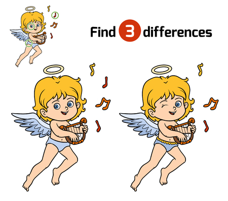 guess: Find differences, education game for children, Angel