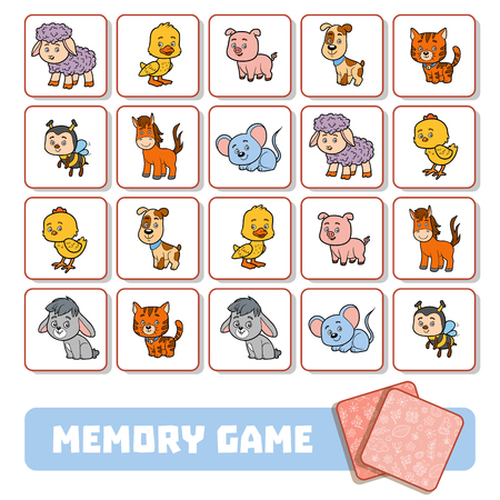 Memory game for preschool children, vector cards with Farm animals Vectores