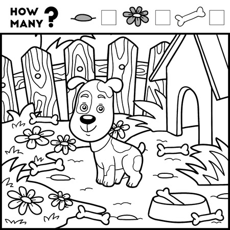 back yard: Counting Game for Preschool Children. Educational a mathematical game. Count how many items and write the result! Dog and background