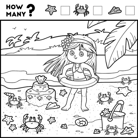 Counting Game for Preschool Children. Educational a mathematical game. Count how many items and write the result! Girl and background Illustration