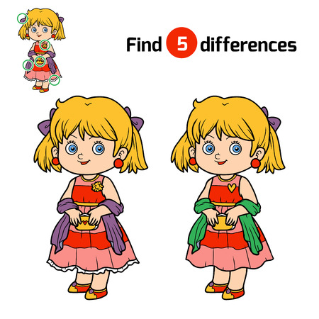 find: Find differences, education game for children, Girl Illustration