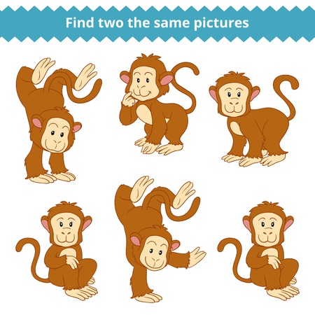 Find two the same pictures, education game for children, monkey