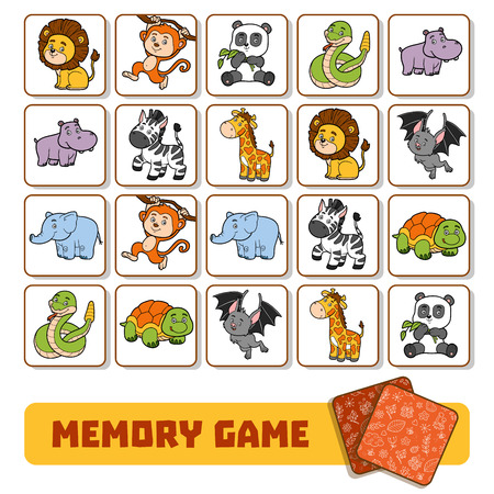 Memory game for preschool children, vector cards with zoo animals