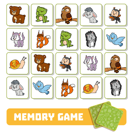 Memory game for preschool children, vector cards with forest animals