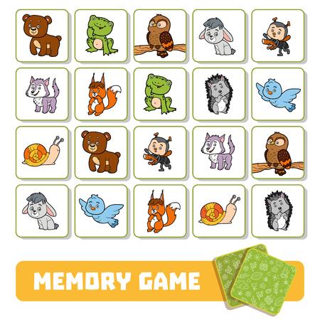 juego de memoria para los niños en edad preescolar, tarjetas de vectores con los animales del bosque Ilustración de vector