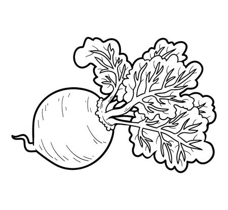 Coloring book for children, vegetables, Beet Vetores