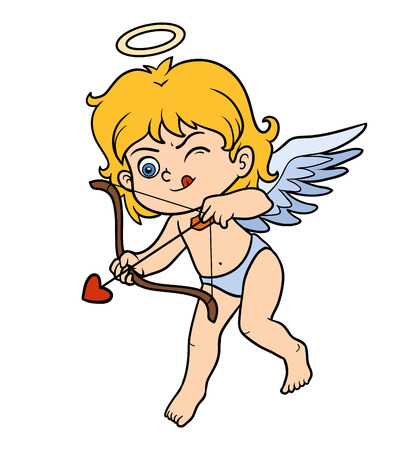 girls with bows: Vector Valentines Day character, Angel with bow and arrow