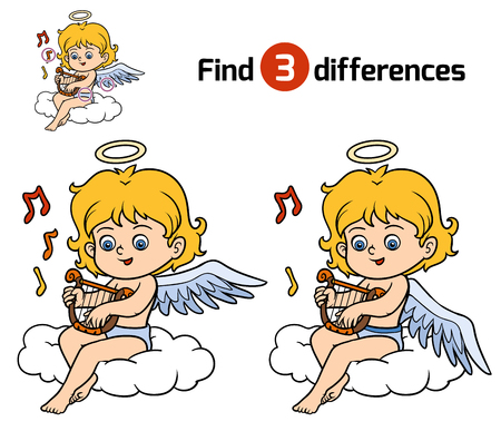 Find differences, education game for children, Angel
