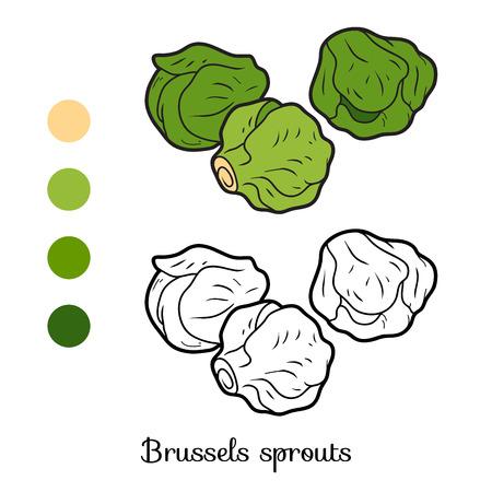 Libro para colorear para los niños, las verduras, las coles de Bruselas Foto de archivo - 67149872