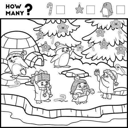 就学前の子供のゲームをカウントします。教育数学的なゲーム。アイテムの数をカウントし、結果を書く!ペンギンと背景 写真素材 - 67149877