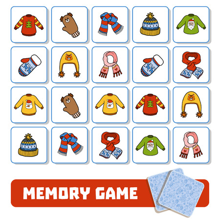 Memory game for preschool children, vector cards with winter accessories Vectores