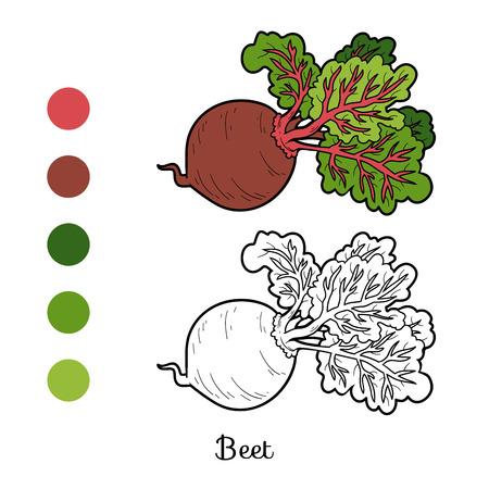 Coloring book for children, vegetables, Beet