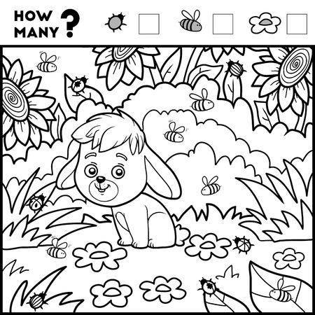 취학 전 어린이를위한 게임을 계산합니다. 수학 게임 교육. 얼마나 많은 항목을 계산하고 결과를 기록! 토끼와 배경