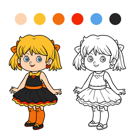 school girl: Coloring book for children, girl in a dress Illustration