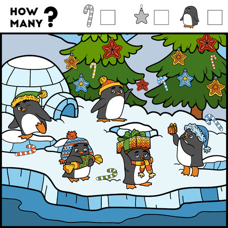 Counting Game for Preschool Children. Educational a mathematical game. Count how many items and write the result! Penguins and background