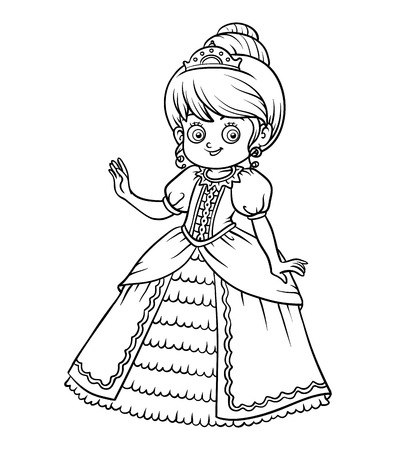 Coloring book for children, cartoon character, Princess