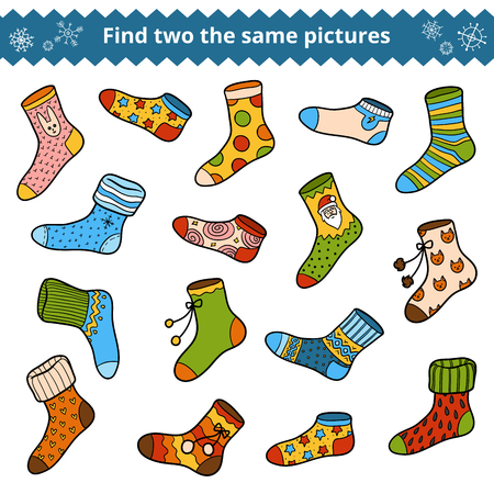Find two the same pictures, education game for children, vector set of socks Illustration