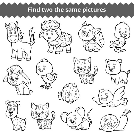 two animals: Find two the same pictures, education game for children, vector set of farm animals