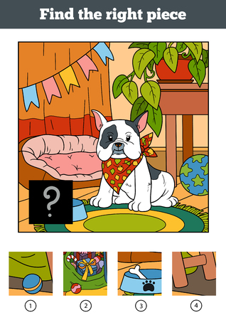 little dog: Find the right piece, jigsaw puzzle game for children. Little dog and background