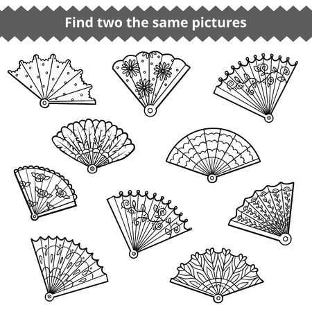 black fan: Find two the same pictures, education game for children, vector set of fans