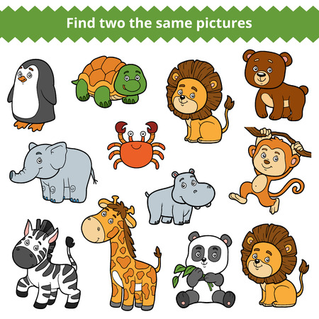two animals: Find two the same pictures, education game for children, vector set of zoo animals