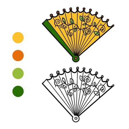 Coloring book for children, cartoon accessories, Fan
