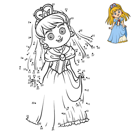 printable coloring pages: Numbers game, education dot to dot game for children, cartoon character, Princess