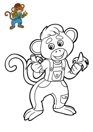 Libro De Colorear Para Niños, Personaje De Dibujos Animados Monkey ...
